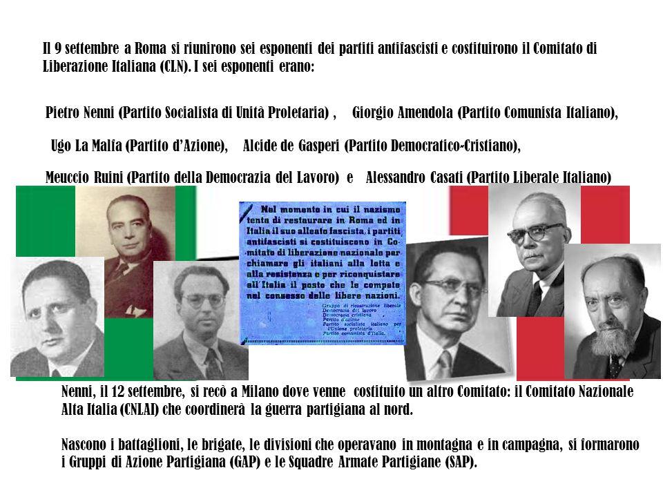 Il 9 settembre a Roma si riunirono sei esponenti dei partiti antifascisti e costituirono il Comitato di Liberazione Italiana (CLN). I sei esponenti er