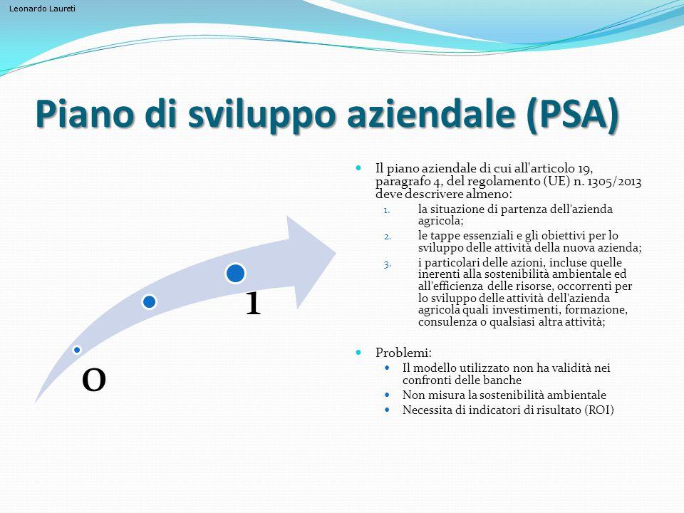 Leonardo Laureti Piano di sviluppo aziendale (PSA) 0 1 Il piano aziendale di cui all'articolo 19, paragrafo 4, del regolamento (UE) n. 1305/2013 deve
