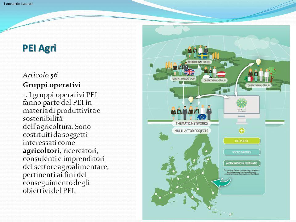 Leonardo Laureti PEI Agri Articolo 56 Gruppi operativi 1. I gruppi operativi PEI fanno parte del PEI in materia di produttività e sostenibilità dell'a