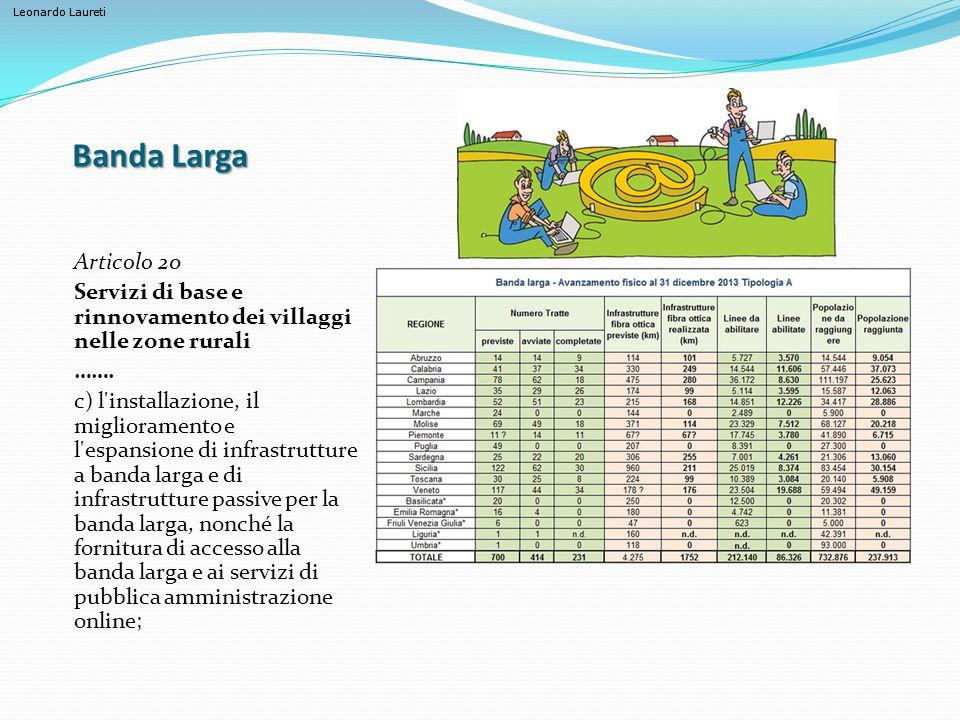 Leonardo Laureti Banda Larga Articolo 20 Servizi di base e rinnovamento dei villaggi nelle zone rurali ……. c) l'installazione, il miglioramento e l'es