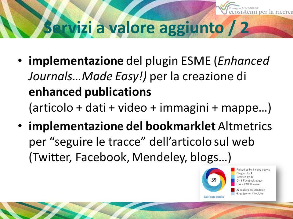 Servizi a valore aggiunto / 2 implementazione del plugin ESME (Enhanced Journals…Made Easy!) per la creazione di enhanced publications (articolo + dati + video + immagini + mappe…) implementazione del bookmarklet Altmetrics per seguire le tracce dell'articolo sul web (Twitter, Facebook, Mendeley, blogs…)