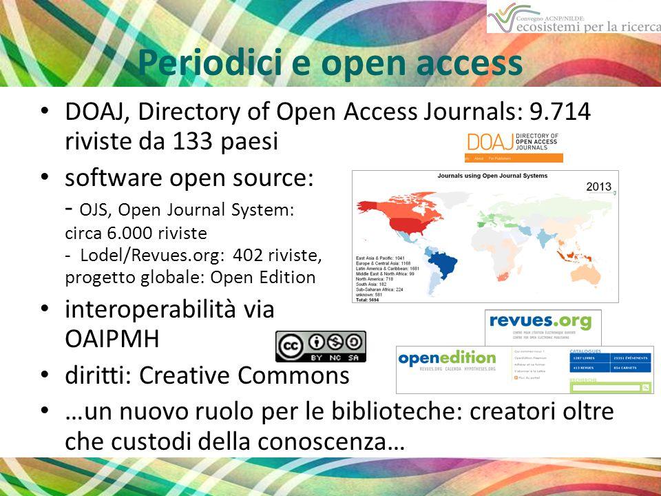 Periodici e open access DOAJ, Directory of Open Access Journals: 9.714 riviste da 133 paesi software open source: - OJS, Open Journal System: circa 6.000 riviste - Lodel/Revues.org: 402 riviste, progetto globale: Open Edition interoperabilità via OAIPMH diritti: Creative Commons …un nuovo ruolo per le biblioteche: creatori oltre che custodi della conoscenza…