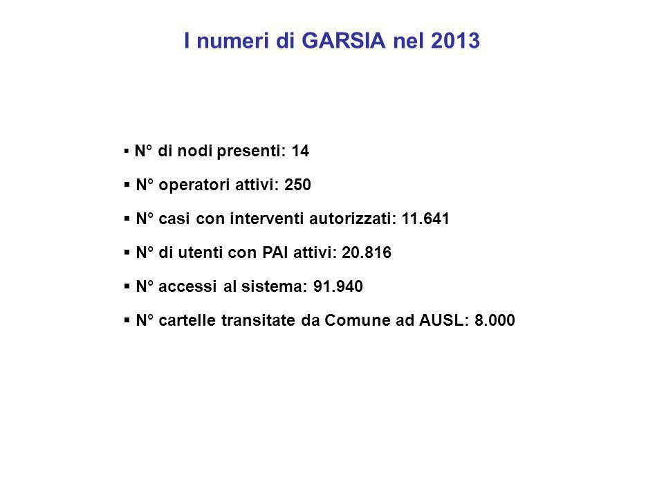 I numeri di GARSIA nel 2013  N° di nodi presenti: 14  N° operatori attivi: 250  N° casi con interventi autorizzati: 11.641  N° di utenti con PAI a