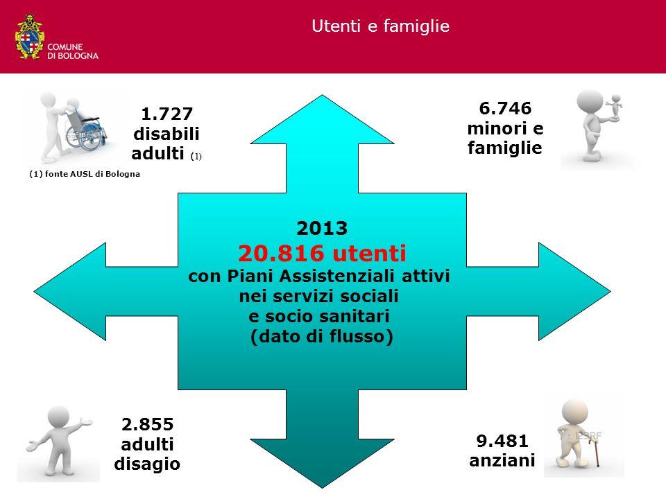 Utenti e famiglie 1.727 disabili adulti ( 1) 6.746 minori e famiglie 9.481 anziani 2.855 adulti disagio 2013 20.816 utenti con Piani Assistenziali att