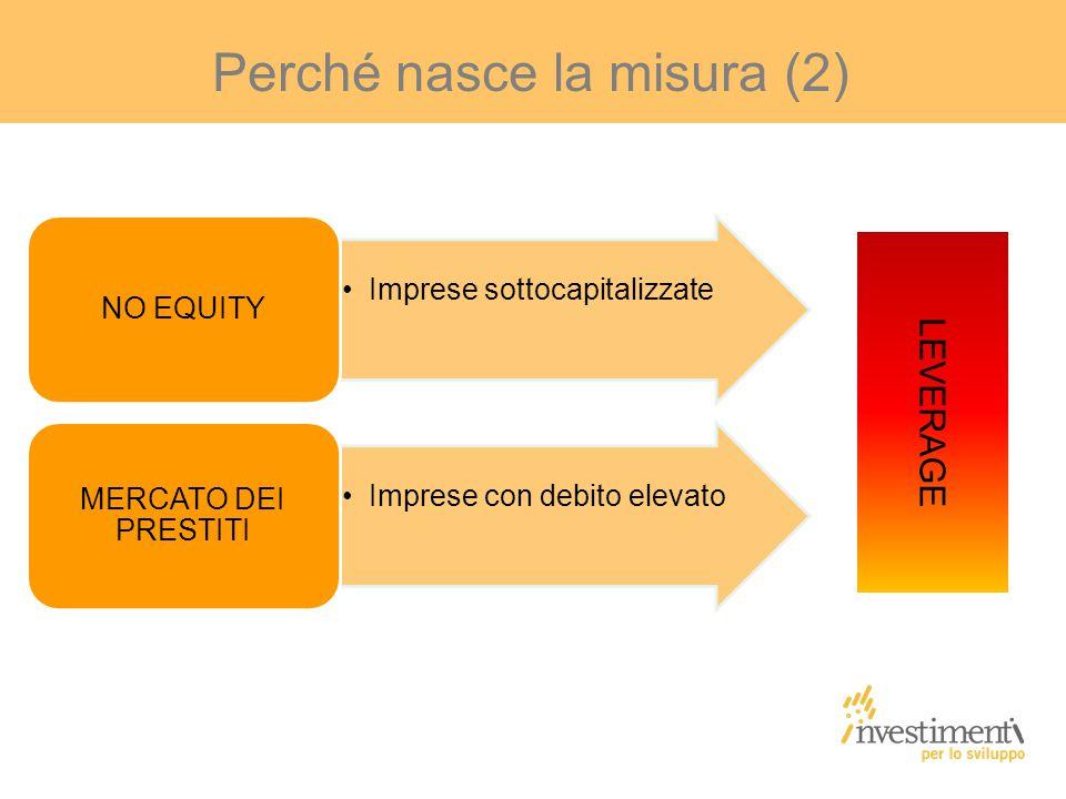 Perché nasce la misura (2) Imprese sottocapitalizzate NO EQUITY Imprese con debito elevato MERCATO DEI PRESTITI LEVERAGE