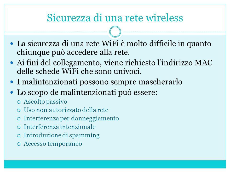 Sicurezza di una rete wireless La sicurezza di una rete WiFi è molto difficile in quanto chiunque può accedere alla rete.