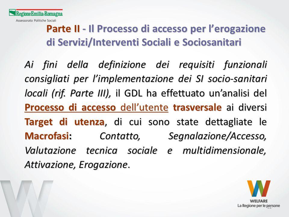 12 Parte II - Il Processo di accesso per l'erogazione di Servizi/Interventi Sociali e Sociosanitari Ai fini della definizione dei requisiti funzionali consigliati per l'implementazione dei SI socio-sanitari locali (rif.