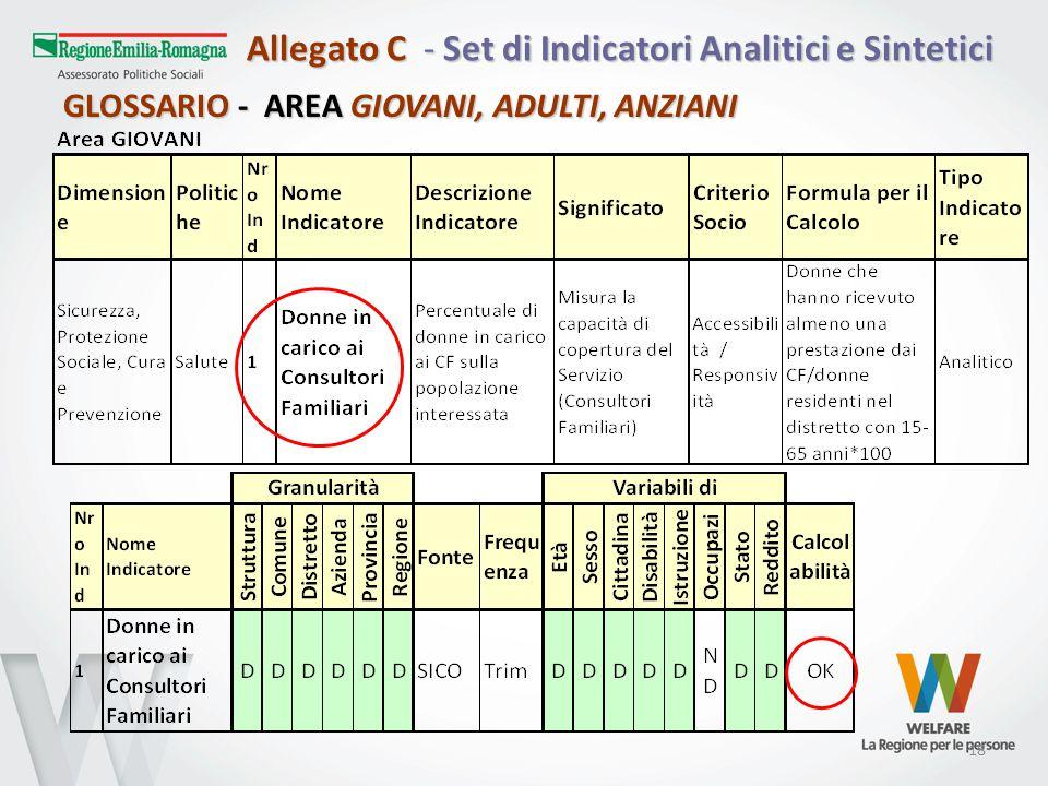 18 Allegato C - Set di Indicatori Analitici e Sintetici GLOSSARIO - AREA GIOVANI, ADULTI, ANZIANI