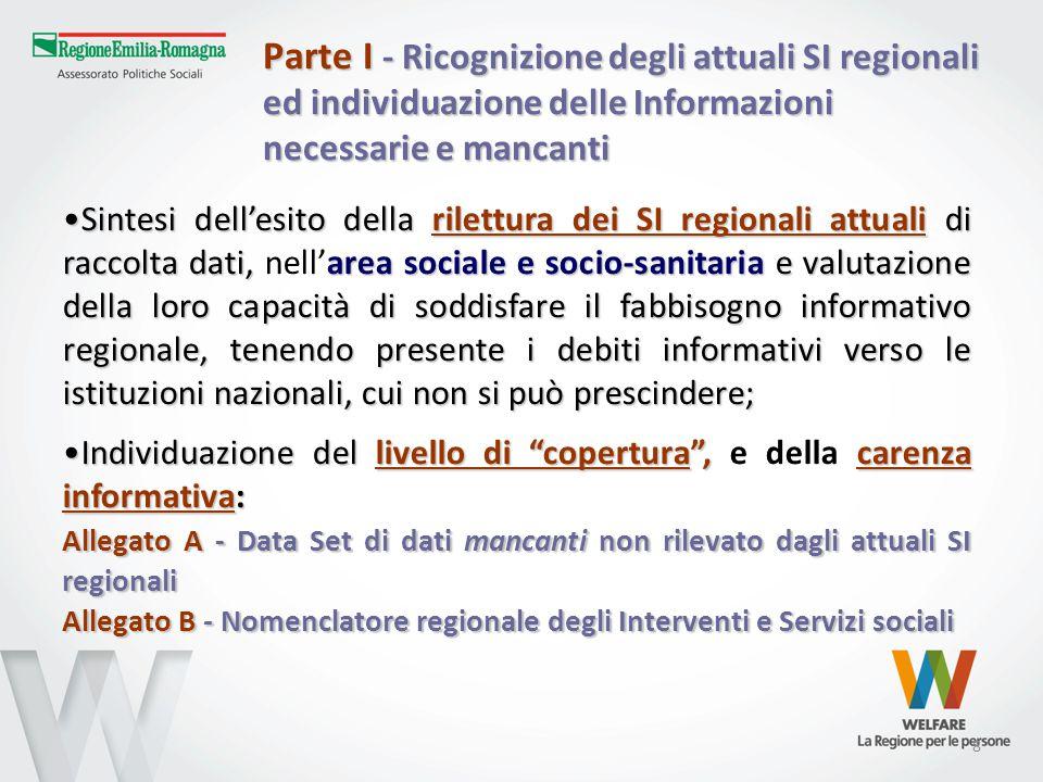 8 Parte I - Ricognizione degli attuali SI regionali ed individuazione delle Informazioni necessarie e mancanti Sintesi dell'esito della rilettura dei