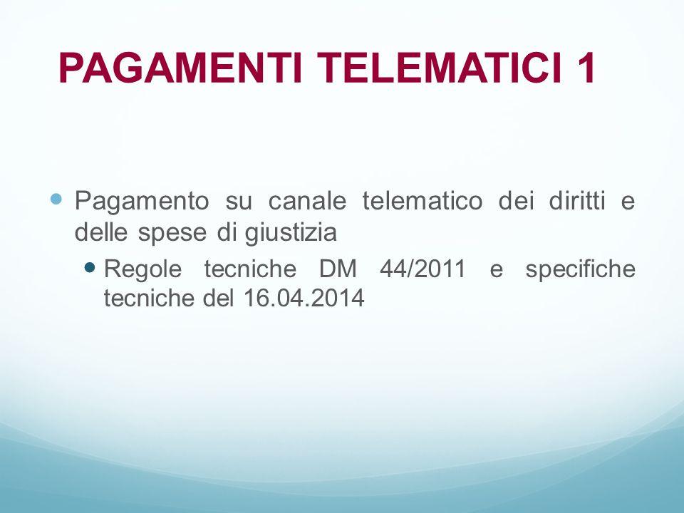 Pagamento su canale telematico dei diritti e delle spese di giustizia Regole tecniche DM 44/2011 e specifiche tecniche del 16.04.2014 PAGAMENTI TELEMA
