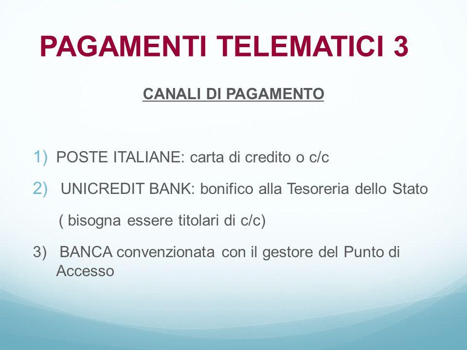 CANALI DI PAGAMENTO  POSTE ITALIANE: carta di credito o c/c  UNICREDIT BANK: bonifico alla Tesoreria dello Stato ( bisogna essere titolari di c/c)