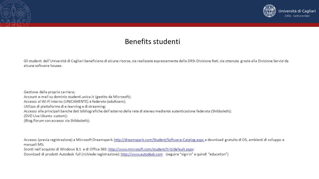 Gli studenti dell'Università di Cagliari beneficiano di alcune risorse, sia realizzate espressamente dalla DRSI-Divisione Reti, sia ottenute grazie al