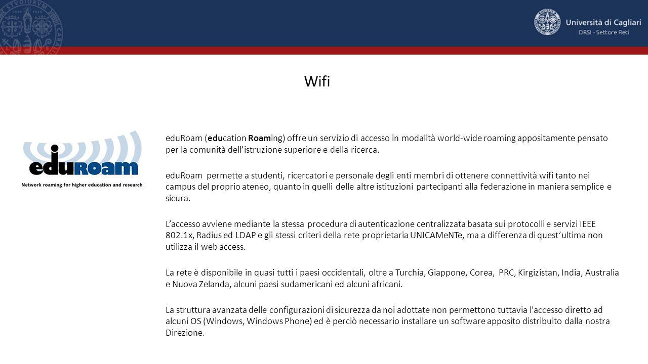 eduRoam (education Roaming) offre un servizio di accesso in modalità world-wide roaming appositamente pensato per la comunità dell'istruzione superior