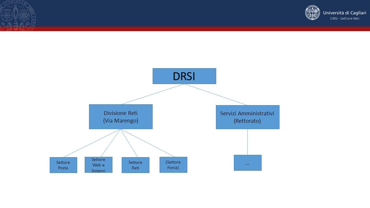 DRSI Divisione Reti (Via Marengo) Servizi Amministrativi (Rettorato) Settore Posta Settore Web e Sistemi Settore Reti (Settore Fonia) …