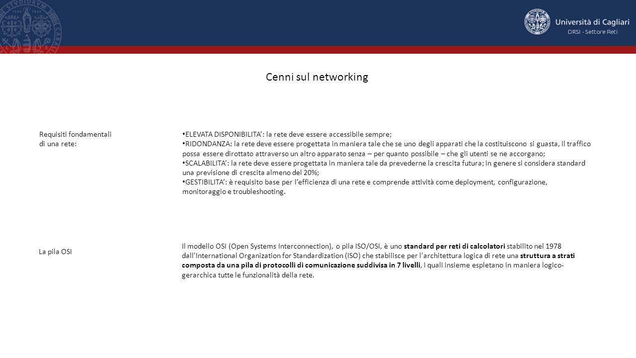 Cenni sul networking Requisiti fondamentali di una rete: ELEVATA DISPONIBILITA': la rete deve essere accessibile sempre; RIDONDANZA: la rete deve esse
