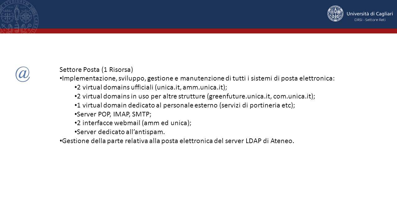 Settore Posta (1 Risorsa) Implementazione, sviluppo, gestione e manutenzione di tutti i sistemi di posta elettronica: 2 virtual domains ufficiali (uni