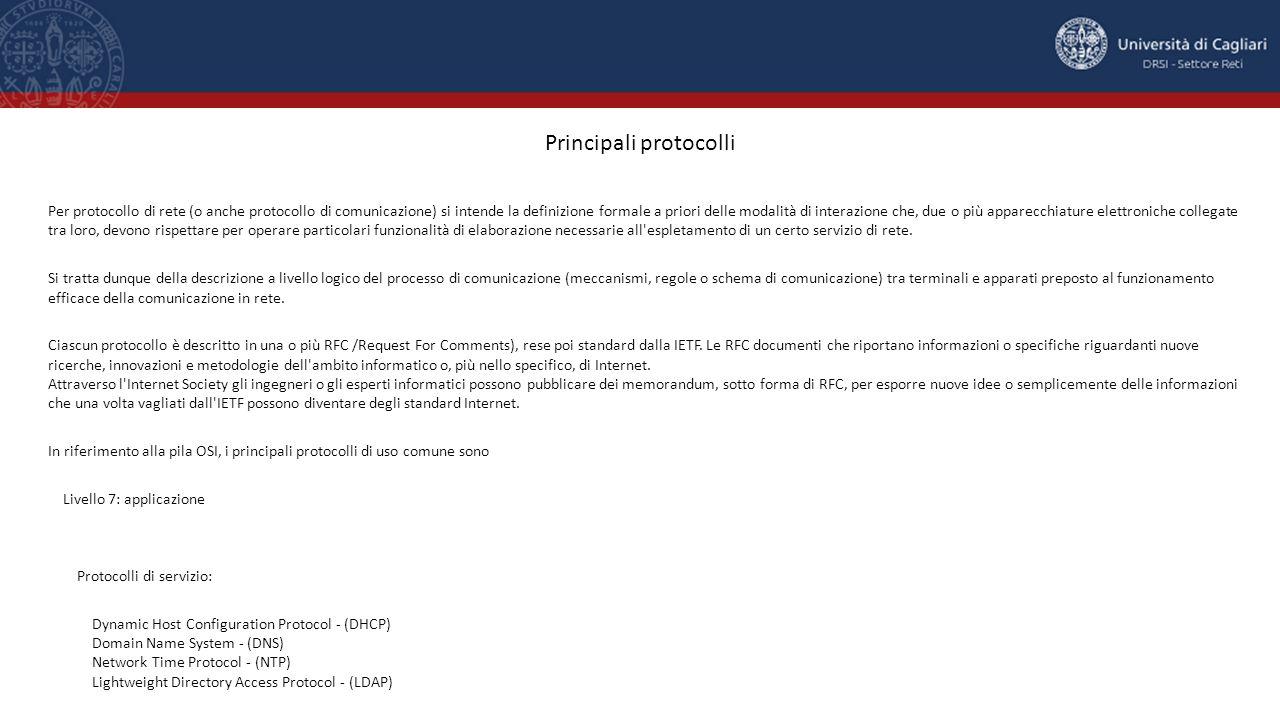 Principali protocolli Per protocollo di rete (o anche protocollo di comunicazione) si intende la definizione formale a priori delle modalità di intera