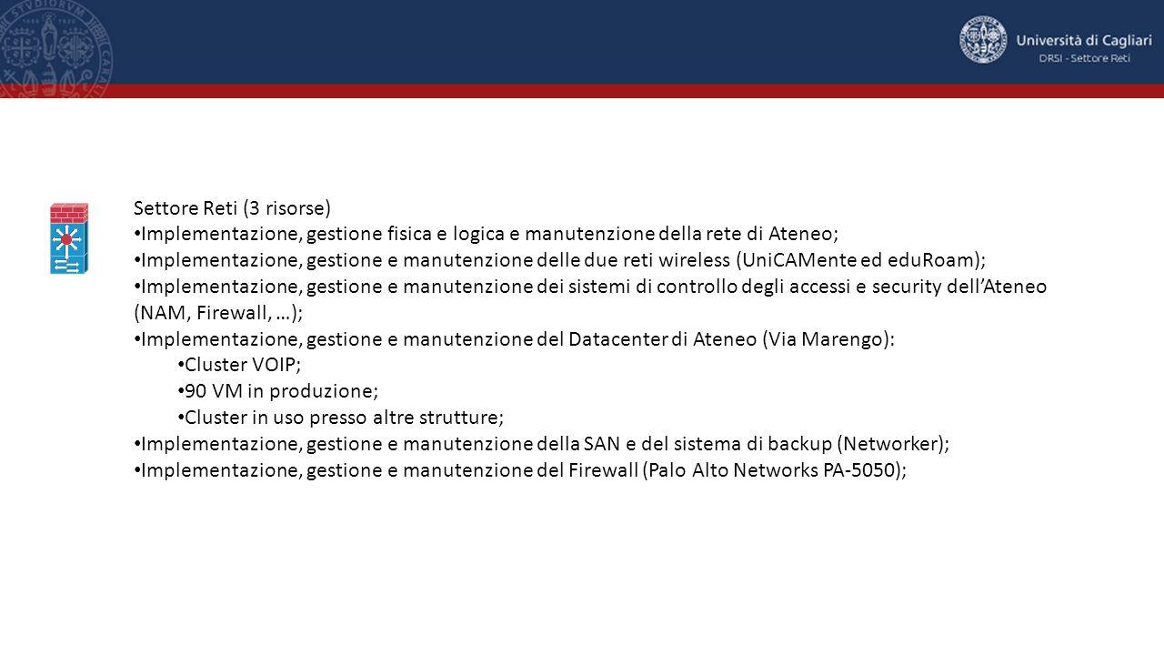 Settore Reti (3 risorse) Implementazione, gestione fisica e logica e manutenzione della rete di Ateneo; Implementazione, gestione e manutenzione delle