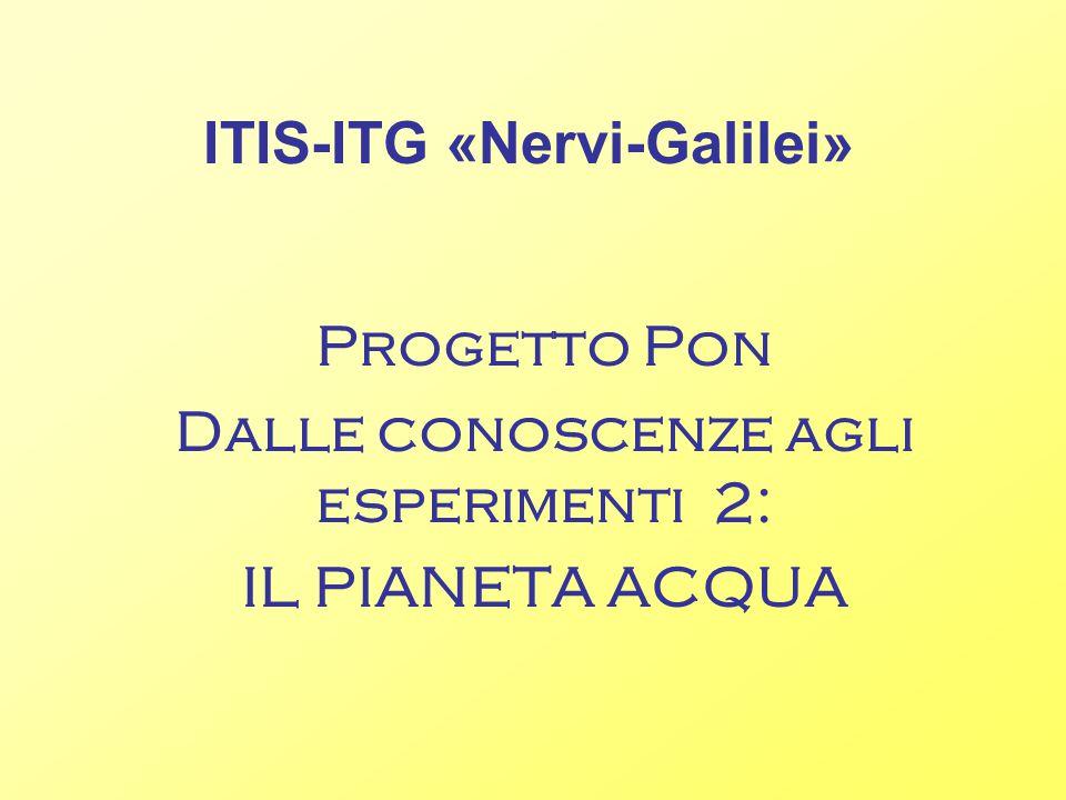 ITIS-ITG «Nervi-Galilei» Progetto Pon Dalle conoscenze agli esperimenti 2: IL PIANETA ACQUA