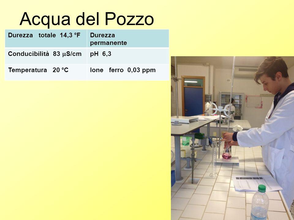 Acqua del Pozzo Durezza totale 14,3 °FDurezza permanente Conducibilità 83  S/cm pH 6,3 Temperatura 20 °CIone ferro 0,03 ppm