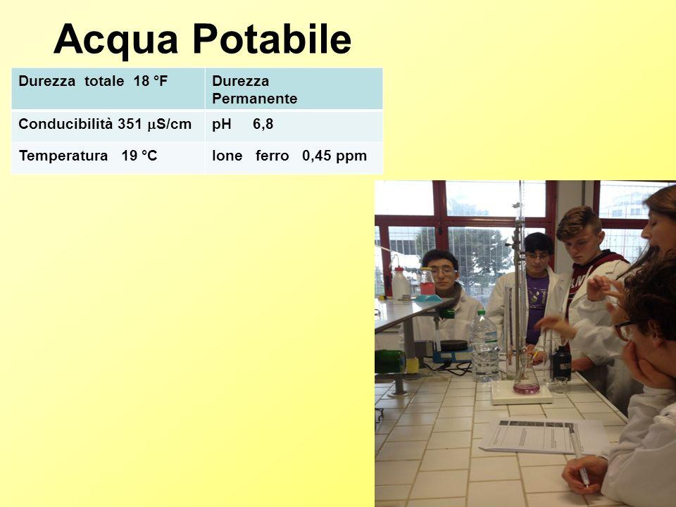 Acqua Tellurica Durezza totale 15 °FDurezza permanente Conducibilità 802  S/cm pH 7 Temperatura 19 °CIone ferro 0,03 ppm