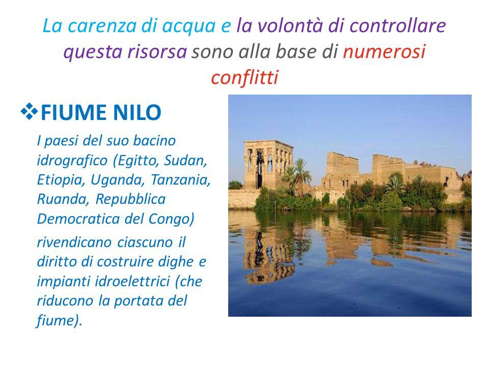 La carenza di acqua e la volontà di controllare questa risorsa sono alla base di numerosi conflitti  FIUME NILO I paesi del suo bacino idrografico (E