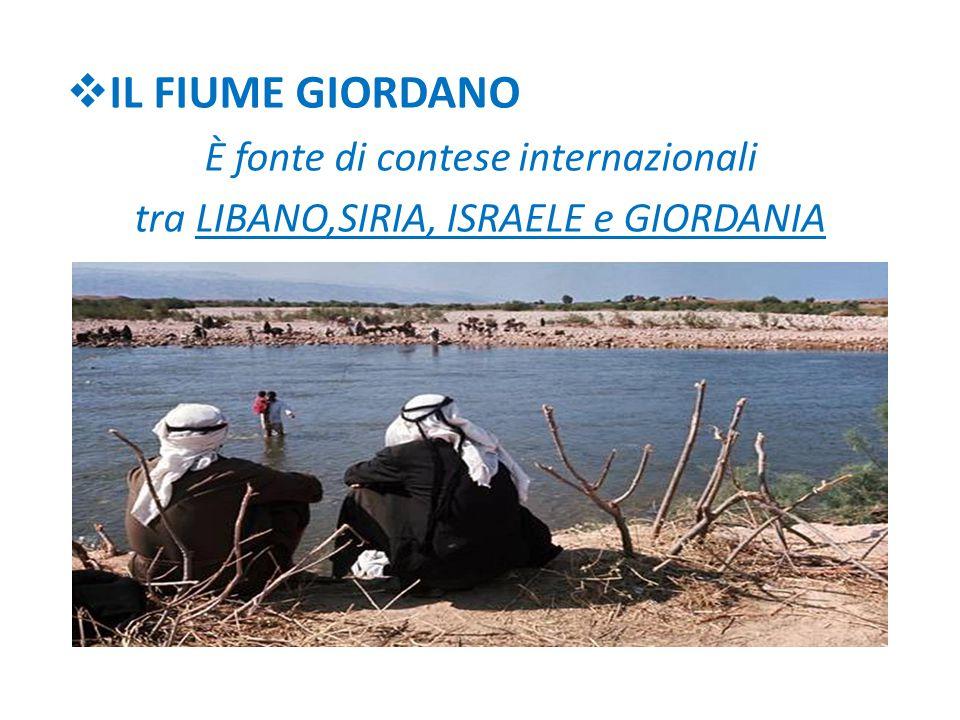  IL FIUME GIORDANO È fonte di contese internazionali tra LIBANO,SIRIA, ISRAELE e GIORDANIA