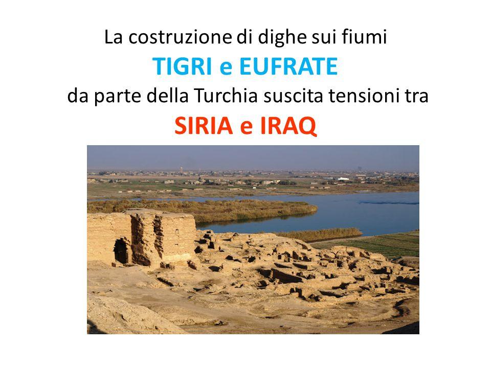 La costruzione di dighe sui fiumi TIGRI e EUFRATE da parte della Turchia suscita tensioni tra SIRIA e IRAQ