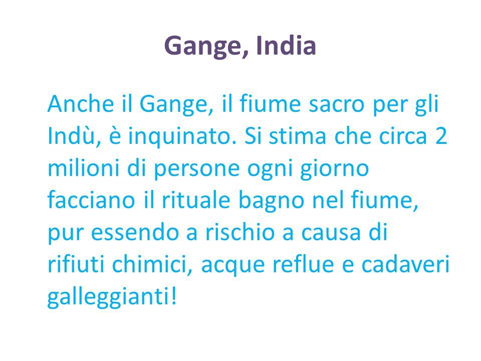 Gange, India Anche il Gange, il fiume sacro per gli Indù, è inquinato. Si stima che circa 2 milioni di persone ogni giorno facciano il rituale bagno n