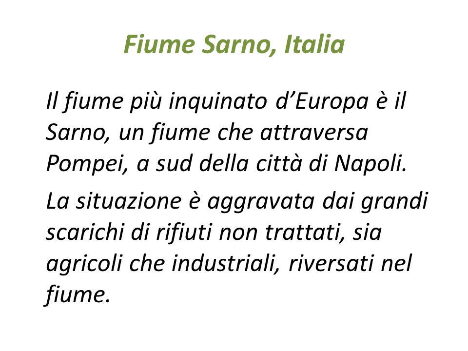 Fiume Sarno, Italia Il fiume più inquinato d'Europa è il Sarno, un fiume che attraversa Pompei, a sud della città di Napoli. La situazione è aggravata