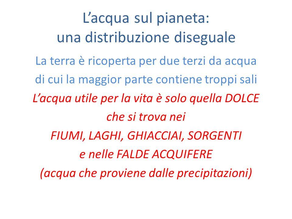 L'acqua sul pianeta: una distribuzione diseguale La terra è ricoperta per due terzi da acqua di cui la maggior parte contiene troppi sali L'acqua utile per la vita è solo quella DOLCE che si trova nei FIUMI, LAGHI, GHIACCIAI, SORGENTI e nelle FALDE ACQUIFERE (acqua che proviene dalle precipitazioni)