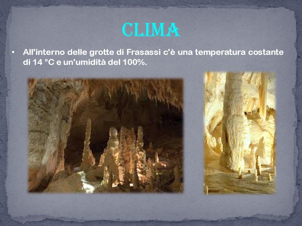 All'interno delle grotte di Frasassi c'è una temperatura costante di 14 °C e un'umidità del 100%. clima