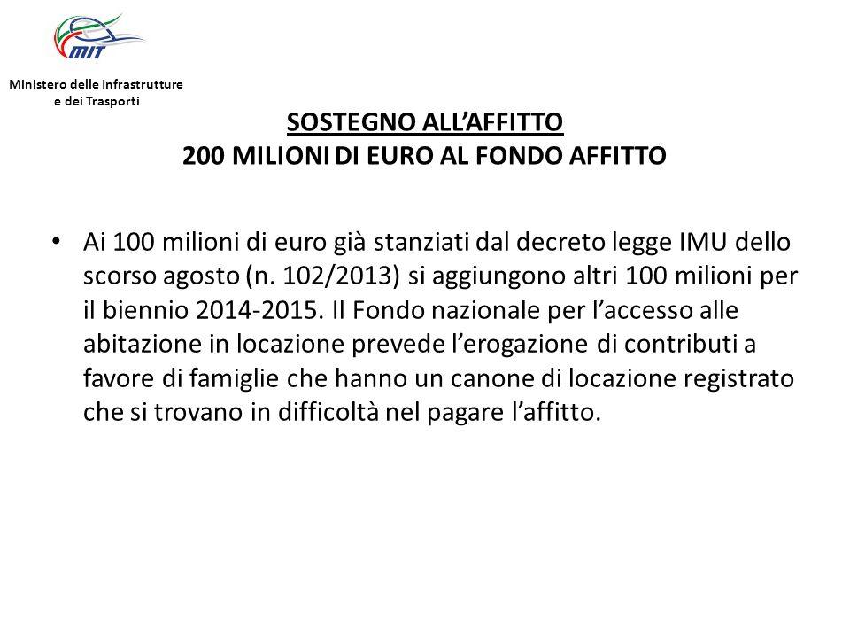 SOSTEGNO ALL'AFFITTO 200 MILIONI DI EURO AL FONDO AFFITTO Ai 100 milioni di euro già stanziati dal decreto legge IMU dello scorso agosto (n.
