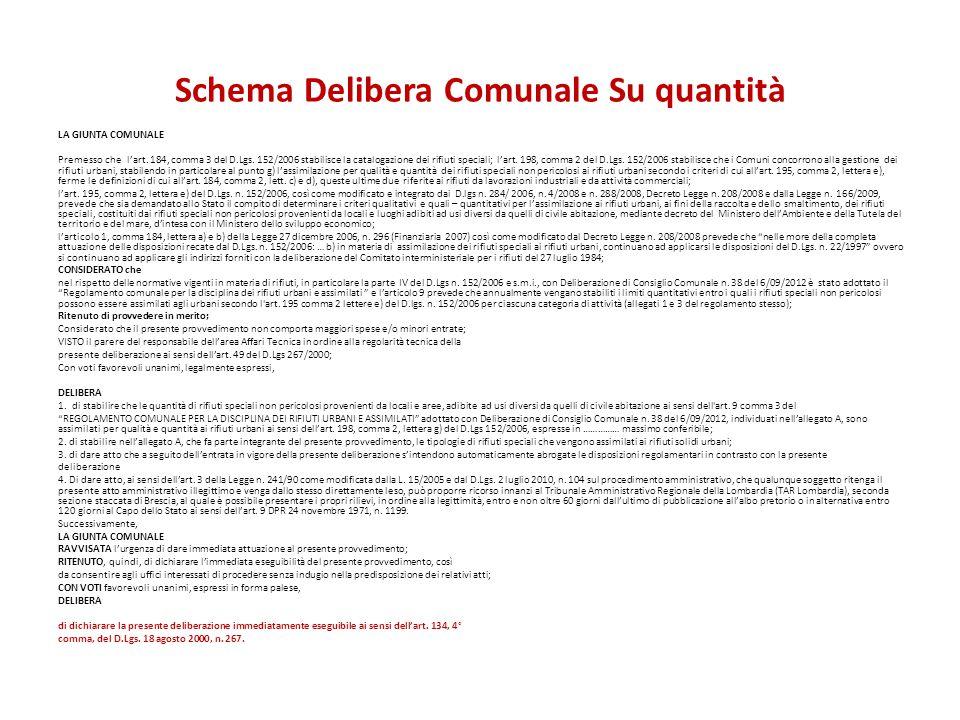 Schema Delibera Comunale Su quantità LA GIUNTA COMUNALE Premesso che l'art. 184, comma 3 del D.Lgs. 152/2006 stabilisce la catalogazione dei rifiuti s