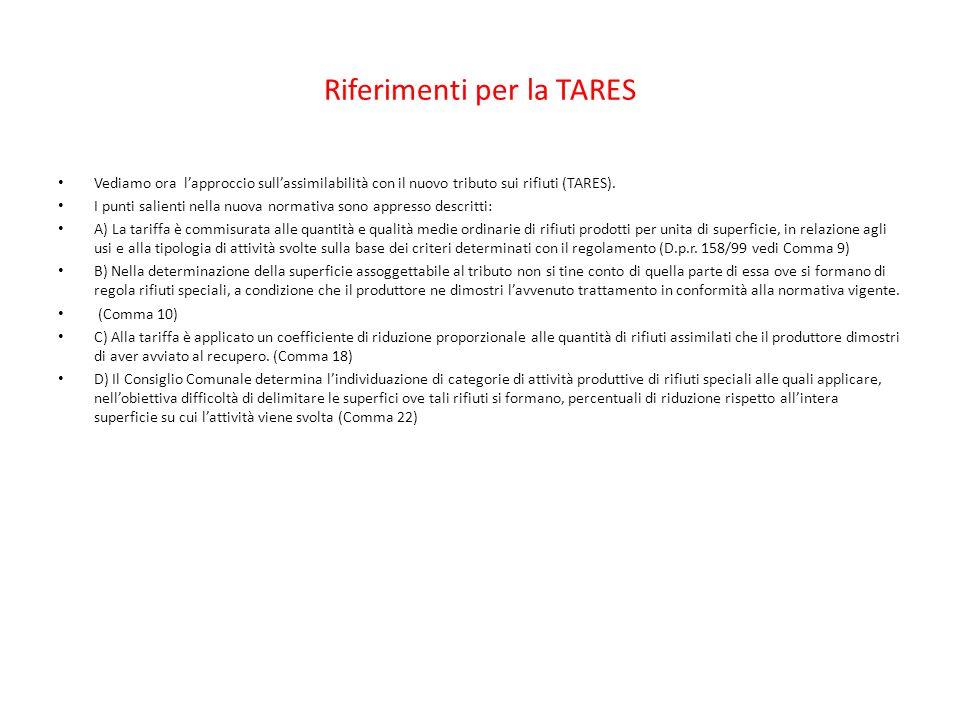 Riferimenti per la TARES Vediamo ora l'approccio sull'assimilabilità con il nuovo tributo sui rifiuti (TARES). I punti salienti nella nuova normativa