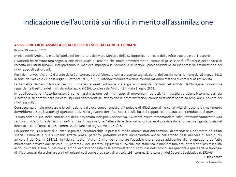Indicazione dell'autorità sui rifiuti in merito all'assimilazione AS922 - CRITERI DI ASSIMILABILITÀ DEI RIFIUTI SPECIALI AI RIFIUTI URBANI Roma, 29 ma