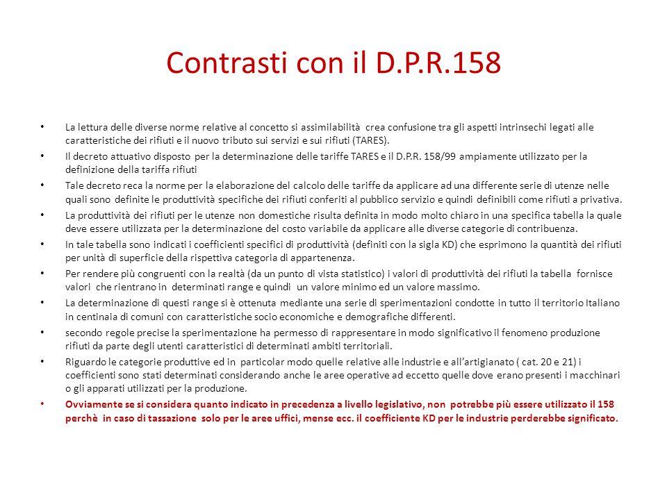 Contrasti con il D.P.R.158 La lettura delle diverse norme relative al concetto si assimilabilità crea confusione tra gli aspetti intrinsechi legati alle caratteristiche dei rifiuti e il nuovo tributo sui servizi e sui rifiuti (TARES).