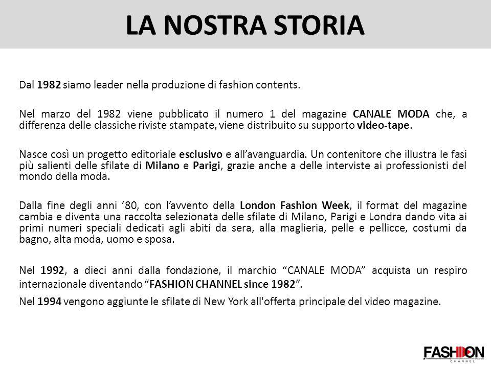 LA NOSTRA STORIA Dal 1982 siamo leader nella produzione di fashion contents.