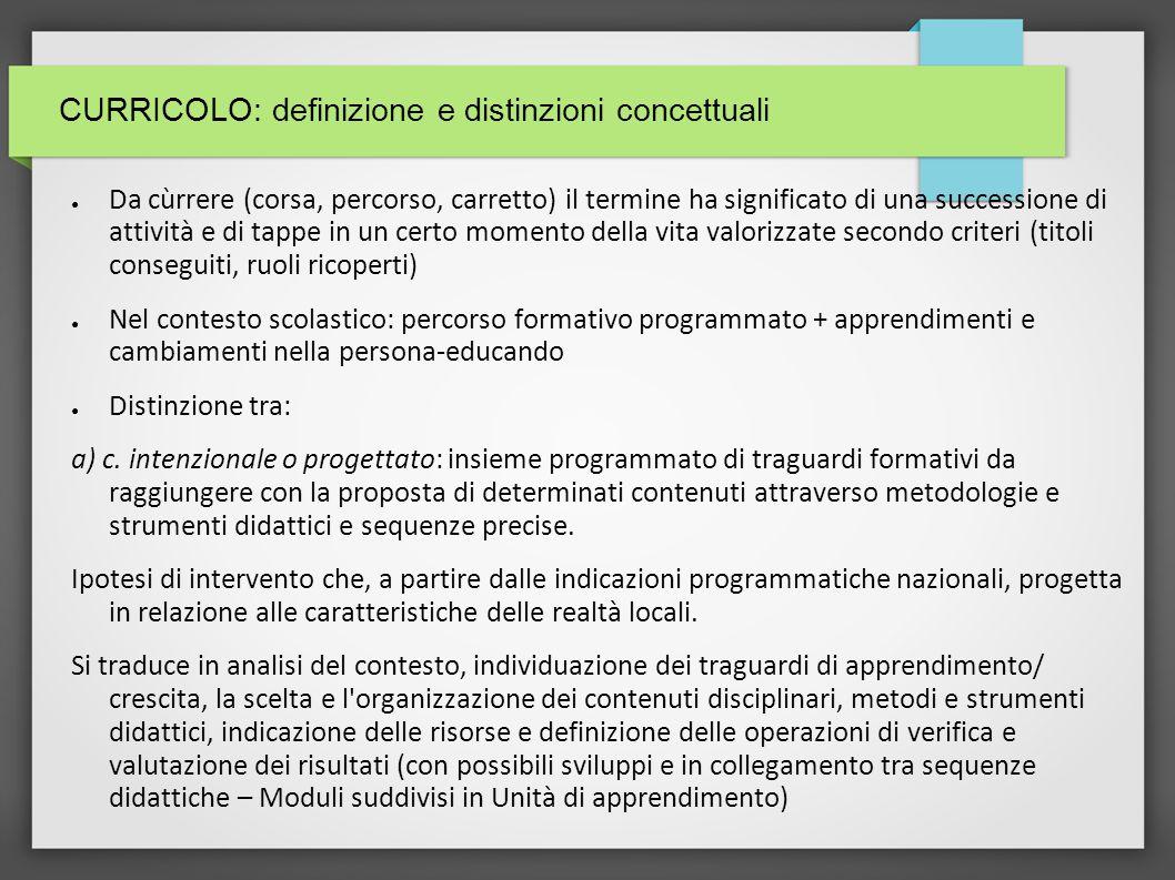 CURRICOLO: definizione e distinzioni concettuali (II) b) c.