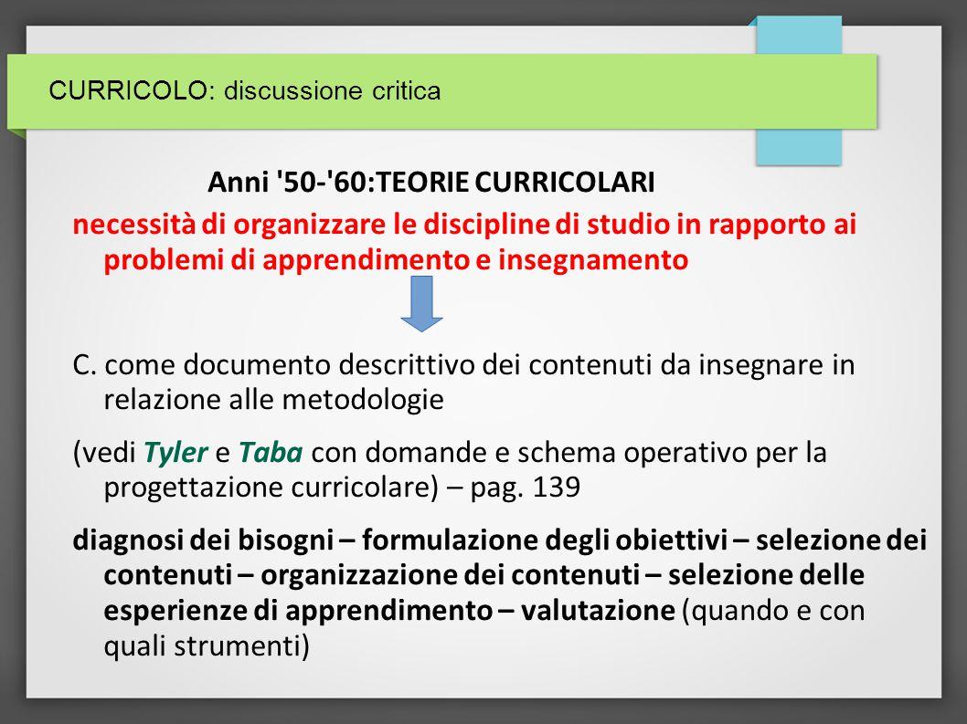 CURRICOLO: discussione critica – Anni 80 (in Italia): PEDAGOGIA PER OBIETTIVI programmazione curricolare (anche nella normativa) 1.
