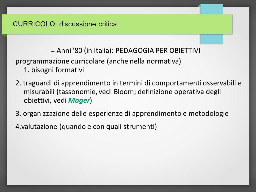 CURRICOLO: influenze nella elaborazione del c.1.