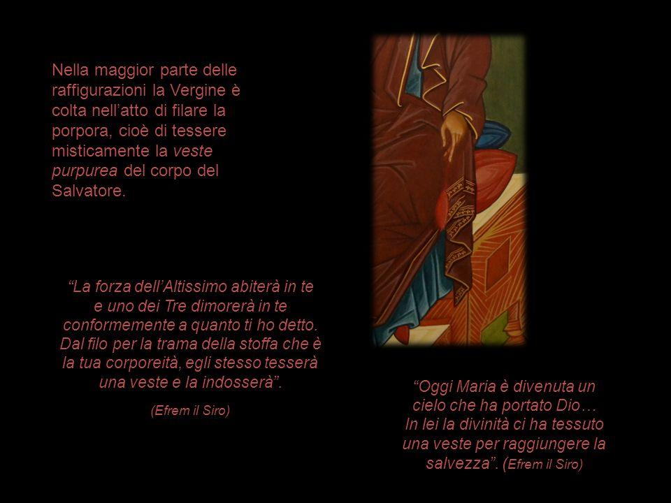 Nella maggior parte delle raffigurazioni la Vergine è colta nell'atto di filare la porpora, cioè di tessere misticamente la veste purpurea del corpo d
