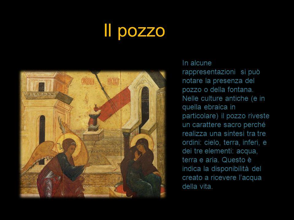 Il pozzo In alcune rappresentazioni si può notare la presenza del pozzo o della fontana. Nelle culture antiche (e in quella ebraica in particolare) il