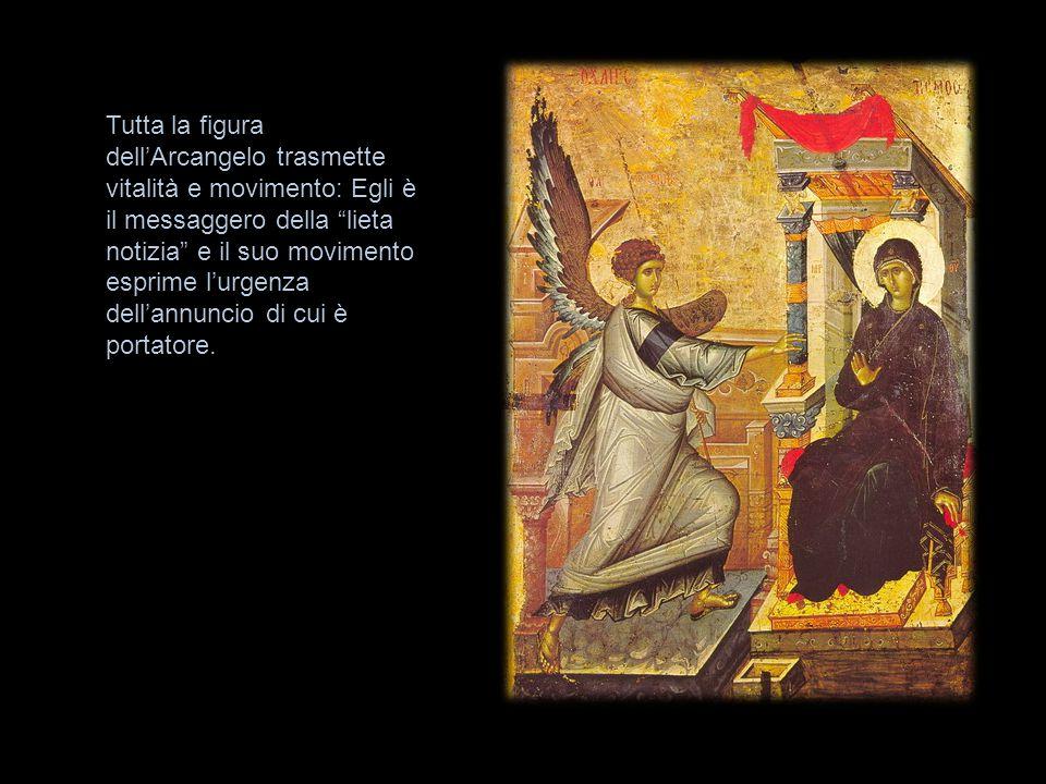 """Tutta la figura dell'Arcangelo trasmette vitalità e movimento: Egli è il messaggero della """"lieta notizia"""" e il suo movimento esprime l'urgenza dell'an"""
