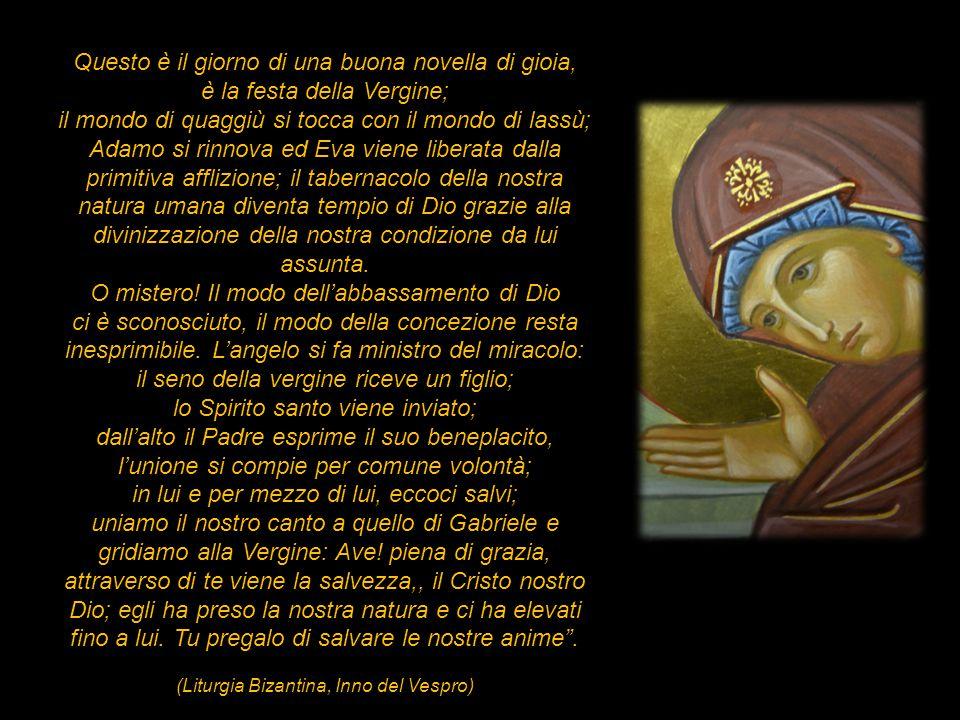 Questo è il giorno di una buona novella di gioia, è la festa della Vergine; il mondo di quaggiù si tocca con il mondo di lassù; Adamo si rinnova ed Ev