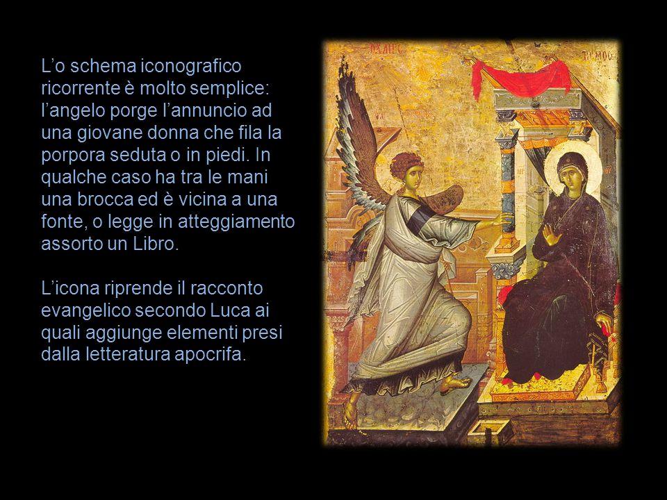 L'o schema iconografico ricorrente è molto semplice: l'angelo porge l'annuncio ad una giovane donna che fila la porpora seduta o in piedi. In qualche