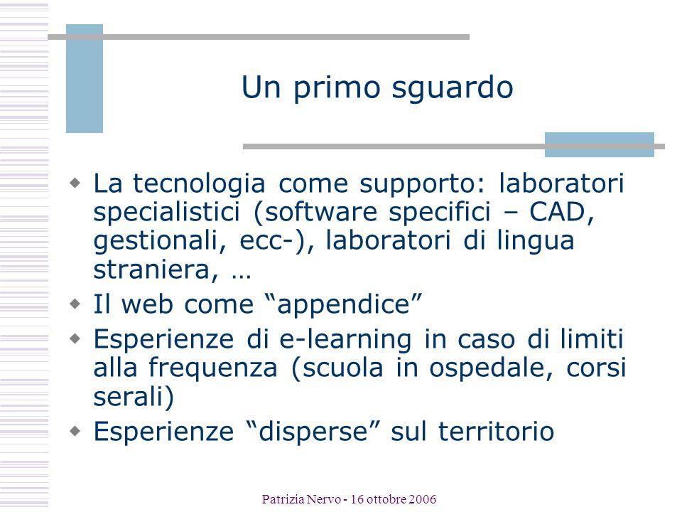 Patrizia Nervo - 16 ottobre 2006 I docenti e le tecnologie  Introduzione delle tecnologie a seguito di percorsi di formazione (es.