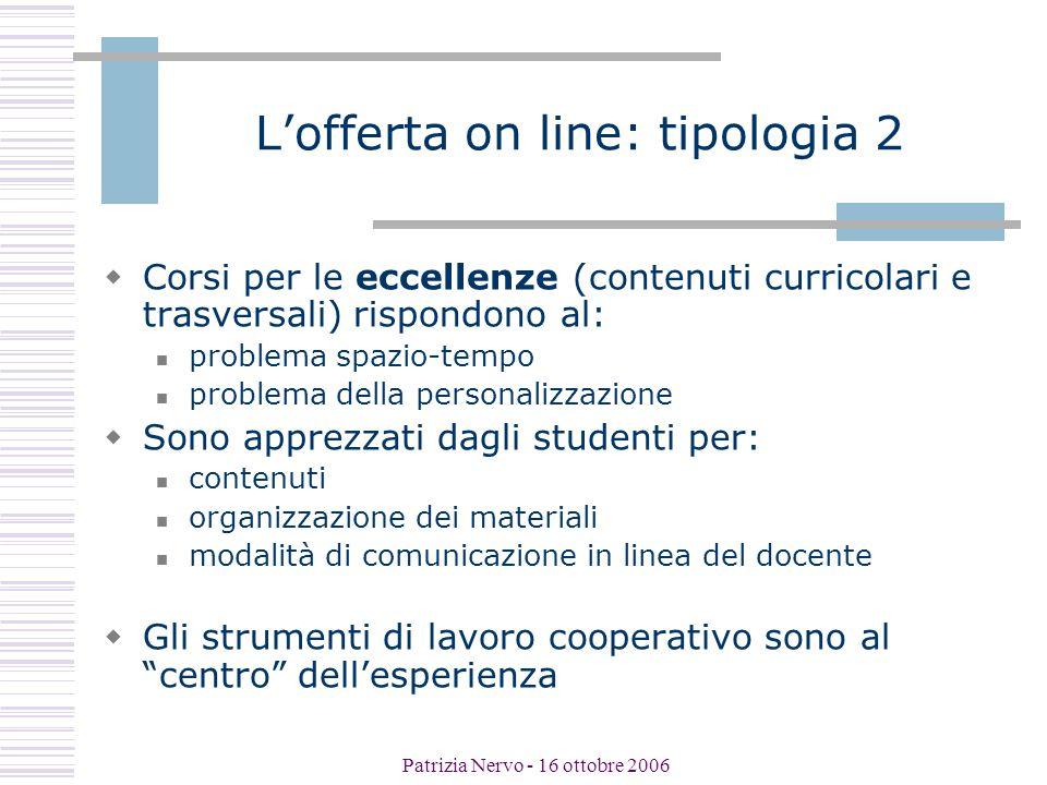 Patrizia Nervo - 16 ottobre 2006 Punti di attenzione per gli studenti:gli aspetti tecnici  tipo di connessione o assenza di connessione  aspettative tecnologiche (editing, interattività, …)