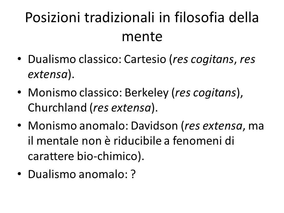 Posizioni tradizionali in filosofia della mente Dualismo classico: Cartesio (res cogitans, res extensa). Monismo classico: Berkeley (res cogitans), Ch