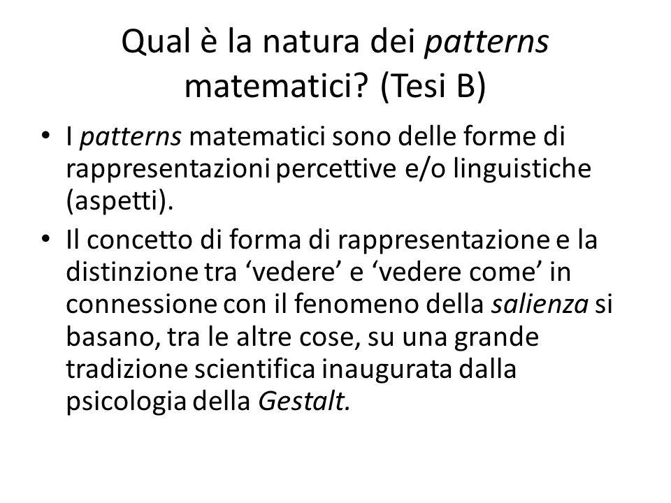 Qual è la natura dei patterns matematici? (Tesi B) I patterns matematici sono delle forme di rappresentazioni percettive e/o linguistiche (aspetti). I